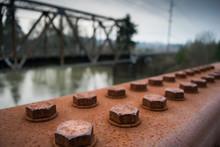 Rusty Bolts On Train Bridge