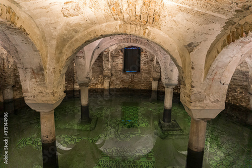 Fotomural Crypt under water in Basilica of San Francesco at Ravenna, Italy