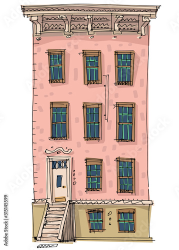 Photo A traditional american urban facade of residential house with fire ladders
