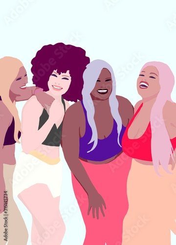 Fototapety, obrazy: Group of natural women