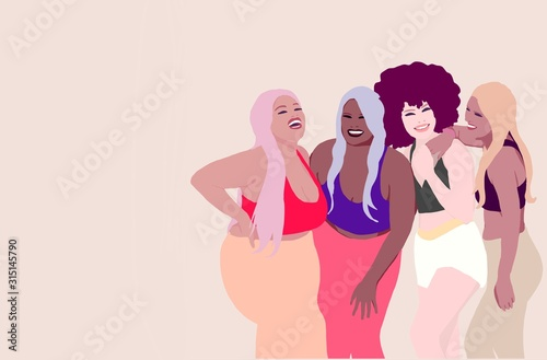Fototapety, obrazy: Different sized women laughing together. Group of Girls from different race, ethnicity and skin color. Body positive concept. Sporting woman