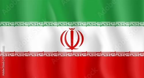 Waving Iranian Flag Billede på lærred