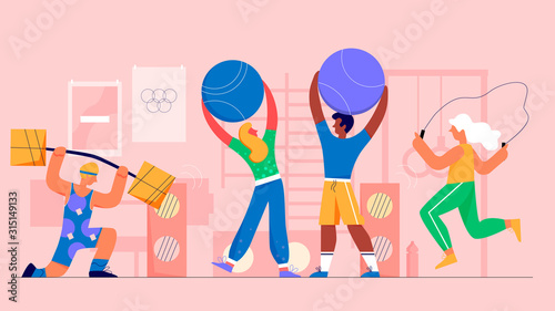 Fototapety, obrazy: Gym people flat vector illustration. Aerobics, powerlifting. Athletes working out. Active healthy lifestyle. Bodybuilding and sport. Sportsman cartoon characters.