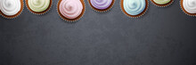 Colorful Cupcakes On Blackboar...