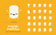 Vector Set Of Cartoon Images Of Marshmallow. Vector Illustration.