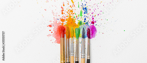 Photo LGBTQ concept of colors made with the help of watercolor paints and brushes of a