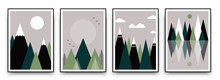 Abstract Mountain Landscape Geometric Template. Vector Mountainscape Pattern Art Poster Set, Graphic Design Illustration In Japanese Style