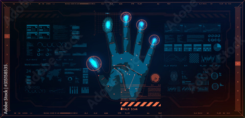 Cuadros en Lienzo Biometric recognition technology on the palm of a hand, fingerprint and face of a person