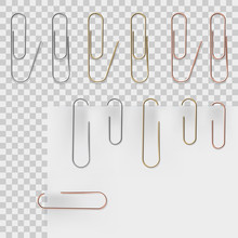 Realistic Metal Paper Clips Se...