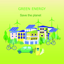 Landscape Of Eco Friendly Future Town Using Green Energy. Row Of Houses, Trees, Solar Panel, Windmill, Bicycle, Hybrid Car. Web Mobile Template. Environmental Protection, Global Warming, Recycle.