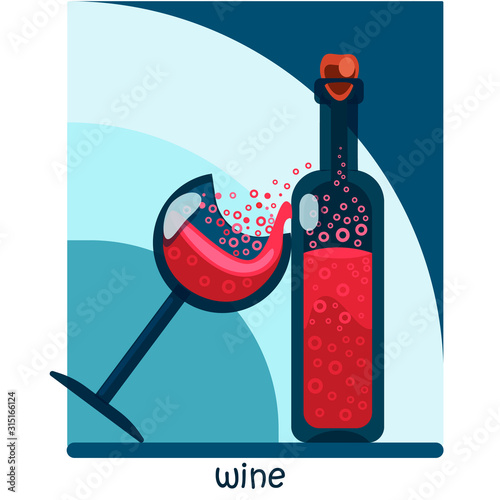 Red sparkling wine in a bottle and a glass Fototapeta