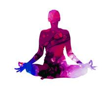 Yoga. Lotus Position Silhouett...