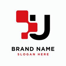 Digital Initial Letter U Logo Design Template - Vector