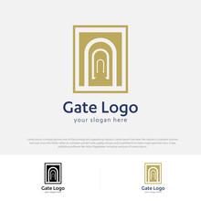 Gate Logo Door Home Entrance Icon Black House Doorway Real Estate Business Design Modern Construction Company Concept Symbol Vector Illustration