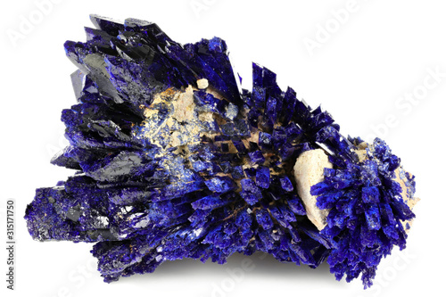 Photo azurite crystal cluster from Kerrouchen, Morocco isolated on white background