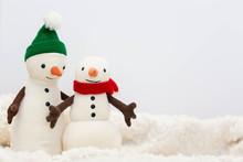 Toy Snowman Family On White Ba...