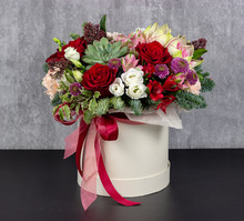 Fresh Arrangement Of Bright Flowers In A Hat Box Florist Work Place For Text