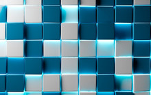 Abstract  Blue Blocks Or Cubes Background.trendy Design Of Mosaic Shiny Texture And Neon Lights. Tech And Digital Backdrop.3d Illustration