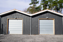 Hangar Exterior Grey With Sectional Gray Gate