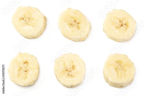 Fotografie, Obraz fresh sliced banana isolated on white background