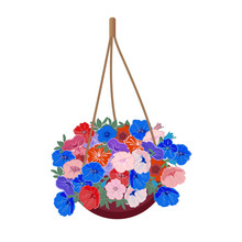 Bush Petunia Hanging Plant In A Hanging Basket To Decorate A Window Or Balcony. Colorful Flowers In A Basket. Isolated On A White Background. Vector Illustration.