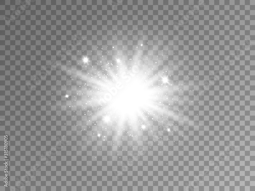 Glowing silver star on transparent background Fototapete