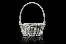 White Wicker Basket Isolated O...