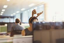Businesswoman Wearing Antler Headband In Office