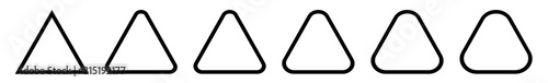 Fotografering Triangle Icon Black Rounded | Label Triangles | Frame Logo | Emblem | Traffic Si
