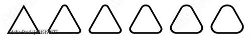 Fotografie, Tablou Triangle Icon Black Rounded | Label Triangles | Frame Logo | Emblem | Traffic Si