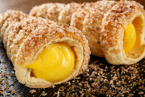Sweets filled with vanilla cream