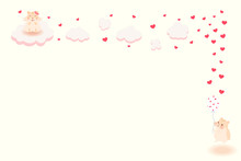 Valentine Day Background. Hamster Lovers And Heart Balloon With Cloud.