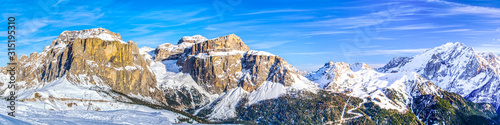 Fotografie, Tablou Dolomites landscape panorama in winter, Italy on Sella Ronda ski itinerary, Pord