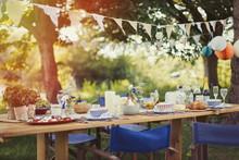 Garden Party Lunch Under Pennant Flag