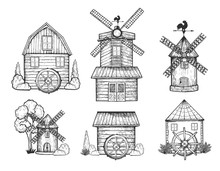 Rural Windmill And Watermill Set
