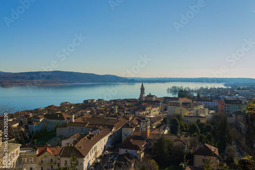 Aerial view of Arona and Lake Maggiore Wallpaper Mural