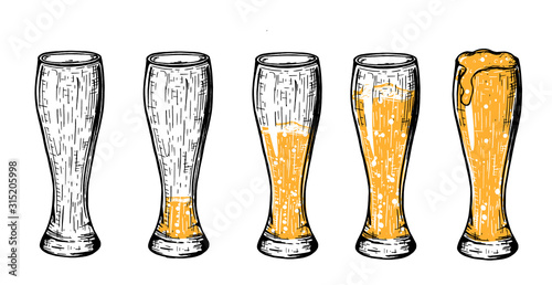 Beer in glass different amount set Wallpaper Mural
