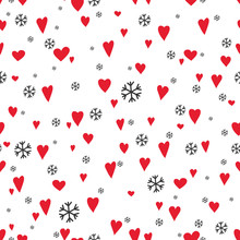 Silhouettes Seamless Pattern With Cute Hearts And Snowflakes. Happy Valentine's Day - Vector