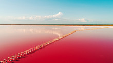 Aerial View Of Pink Lake And S...