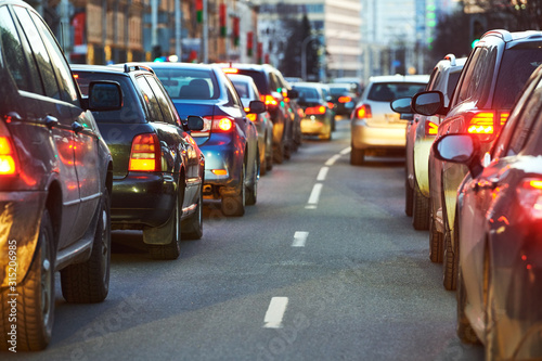 traffic jam or collapse in a city street road Fototapet