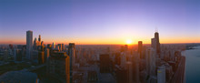 Chicago Sunset, Aerial View, I...