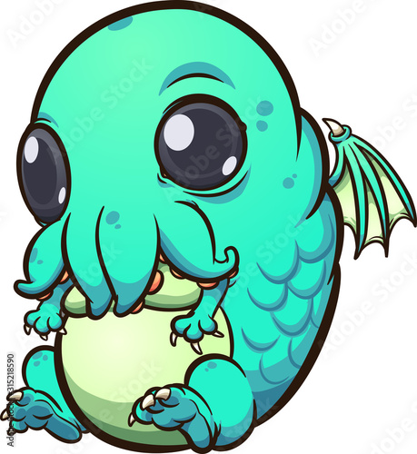 Baby Cthulhu sitting and looking cute cartoon Canvas Print