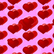 canvas print picture - red hearts on a pink background, red hearts on a pink background