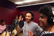 Teenage Musicians Recording Mu...