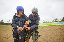 Paragliders Preparing Equipment