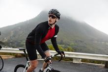 Male Cyclist Cycling Mountain ...