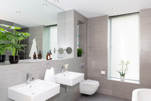 Modern Gray And White Bathroom...