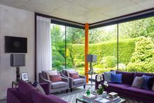 Modern Living Room With Purple...