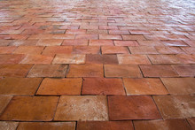 Old Red Brown Brick Floor Patt...