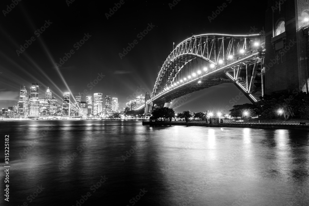 Fototapeta Black and white photo of Sydney Harbour Bridge at night
